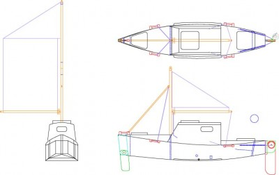 SK1232 Sailing Canoe Sketch