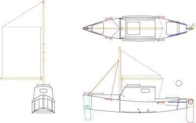 SK1232 Sailing Canoe Sketch