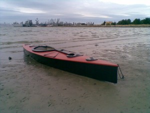 Ultralight kayak on the beach at Alameda.